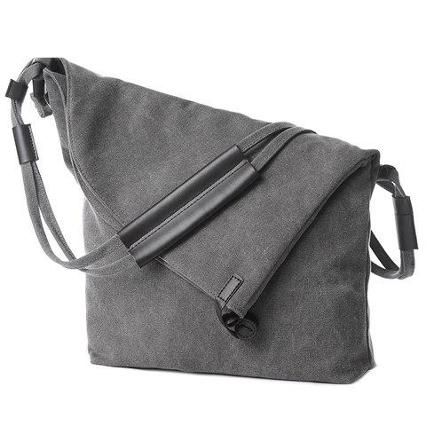 Outfits Leisure Canvas and Button Design Shoulder Bag For Women GRAY