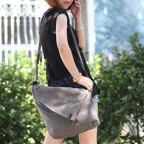 New Leisure Canvas and Button Design Shoulder Bag For Women - GRAY  Mobile