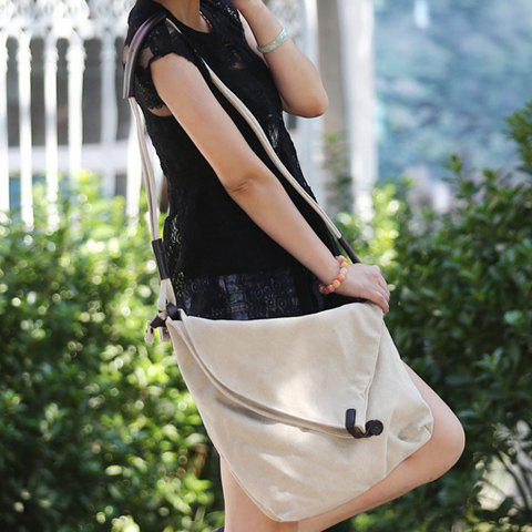 Shops Leisure Canvas and Button Design Shoulder Bag For Women - OFF-WHITE  Mobile