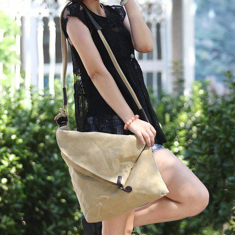 Outfit Leisure Canvas and Button Design Shoulder Bag For Women -   Mobile