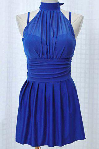 Shops Pleated Skirted High Neck Underwire Tankini BLUE L