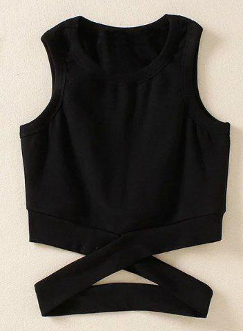 Unique Fashionable Jewel Collar Criss-Cross Solid Color Tank Top For Women