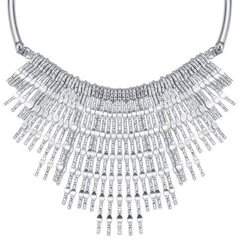 Sale Punk Embossed Long Strips Fringed Necklace