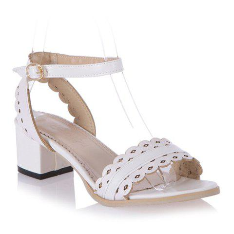 Discount Fashionable Hollow Out and Chunky Heel Design Sandals For Women WHITE 39
