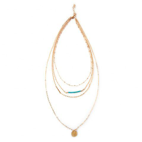 Fancy Beads Round Layered Link Design Necklace