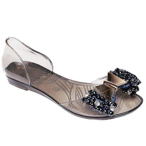 Store Sweet Bowknot and Rhinestones Design Sandals For Women - 36 BLACK Mobile