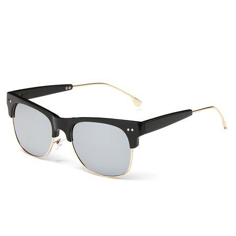 New Trendy Metal Frame Splicing Design Black Sunglasses SILVER