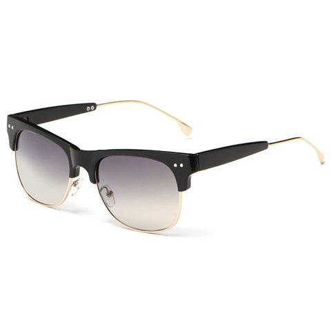 Trendy Metal Frame Splicing Design Black Sunglasses - Black