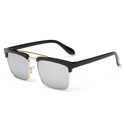 New Trendy Black Brow Quadrate Frame Sunglasses - SILVER  Mobile
