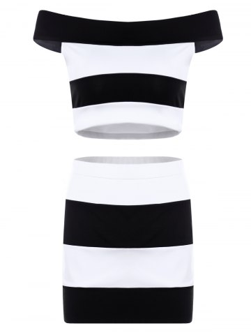 Chic Trendy Slash Neck Striped Crop Top and Sheath Skirt Twinset For Women