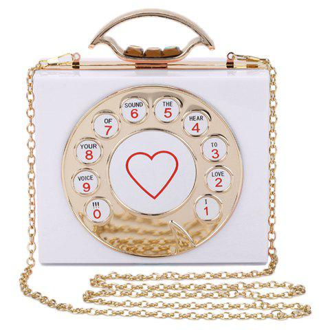 Chic Chic Metal and Telephone Shape Design Evening Bag For Women