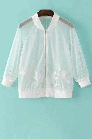 Unique Chic See-Through Bird Embroidered Women's Sunscreen Jacket