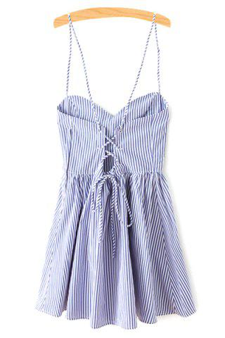 Sale Spaghetti Strap Sleeveless Striped Mini Skater Dress - S BLUE Mobile