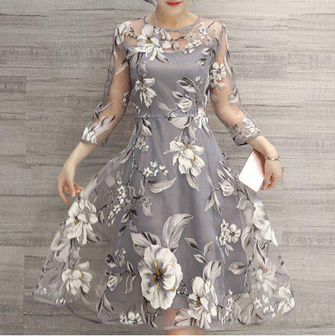 Trendy Flower Print Midi Organza Dress LIGHT GRAY XL