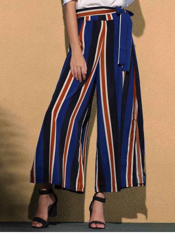 Discount Stiped Wide Leg Palazzo Pants With Slits COLORMIX M