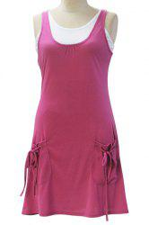 Chic Sleeveless White Tank Top + Pocket Design Solid Color Dress Women's Twinset -