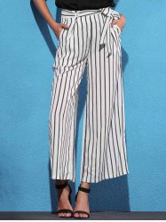 Striped Self Tie Palazzo Pants with Pockets - WHITE AND BLACK