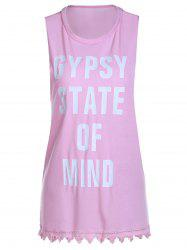Letter Graphic Long Tank Top - PINK XL