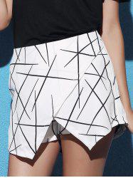 Stylish Mid Waist Printed Asymmetrical Culottes For Women