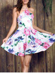 Spaghetti Strap Floral Backless Skater Summer Dress