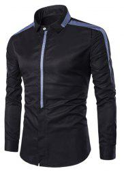 Turn-Down Collar Covered Button Spliced Design Long Sleeve Shirt For Men - BLACK M