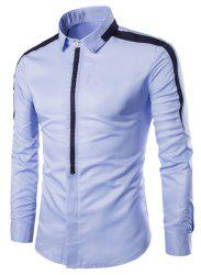 Turn-Down Collar Covered Button Spliced Design Long Sleeve Shirt For Men