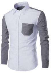 Turn-Down Collar Color Block Spliced Stripe Print Long Sleeve Shirt For Men - GRAY M