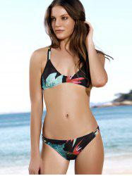 Spaghetti Strap Leaf Print Scoop Bikini Set - BLACK