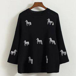 Cute Round Neck 3/4 Sleeve Horses Embroidered Knitwear For Women -