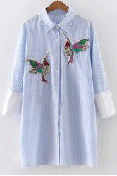 Stylish Shirt Collar 3/4 Sleeve Striped Bird Embroidered Animal Dress For Women