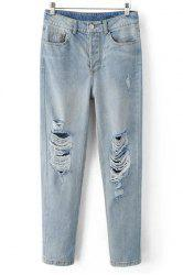 Boyfriend Style Mid Waist Zipper Fly Blue Ripped Jeans For Women - DENIM BLUE