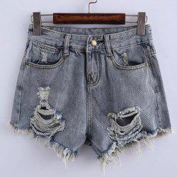 Stylish Mid Waist Solid Color Denim Ripped Shorts For Women