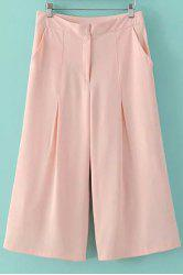 Fashionable High Waist Solid Color Loose-Fitting Capri Pants For Women -