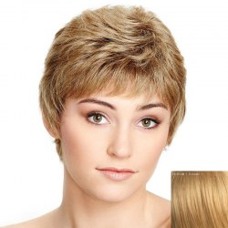 Spiffy Ultrashort Capless Shaggy Natural Wave Side Bang Human Hair Wig For Women - BLONDE
