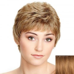 Spiffy Ultrashort Capless Shaggy Natural Wave Side Bang Human Hair Wig For Women