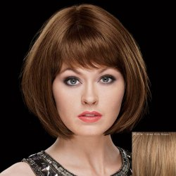 Sweet Straight Side Bang Capless Bob Style Short Human Hair Wig -