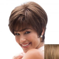 Graceful Side Bang Capless Trendy Straight Short Real Natural Hair Wig For Women -