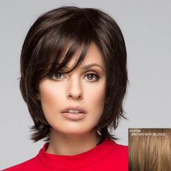 Fluffy Short Natural Straight Graceful Inclined Bang Capless Human Hair Wig For Women -