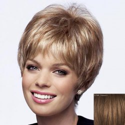 Shaggy Short Natural Straight Dynamic Side Bang Capless Human Hair Wig For Women - AUBURN