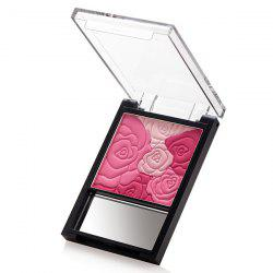 Stylish 4 Colours Rose Print Brighten Pearl Blusher with Mirror - #01
