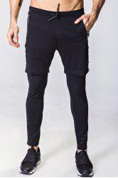 Faux Twinset Lace-Up Letter Appliques Mesh Spliced Narrow Feet Pants For Men