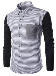 Turn-Down Collar Stripe Print Spliced Design Long Sleeve Shirt For Men