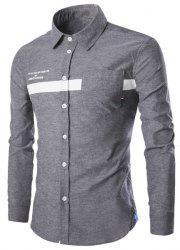 Turn-Down Collar Stripe and Letters Print Long Sleeve Shirt For Men - GRAY XL