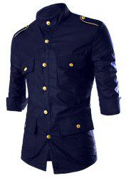 Stand Collar Epaulet Design Three-Quarter Sleeve Pockets Shirt For Men -