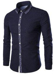 Turn-Down Collar Flower Print Polka Dot Long Sleeve Shirt For Men