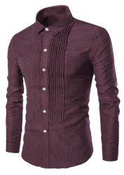 Turn-Down Collar Wrinkle Design Polka Dot Long Sleeve Shirt For Men