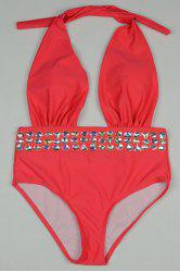 Chic Halter Rhinestone Design One-Piece Swimwear For Women