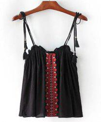 Ethnic Style Spaghetti Strap Embroidered Tank Top For Women -