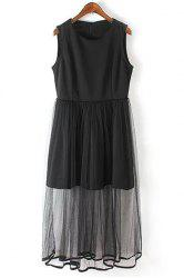 Casual Black Gauze Spliced Sleeveless Midi Dress For Women -