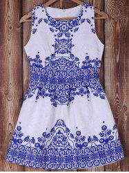 Elegant Blue and White Porcelain Printed Summer Dress For Women - BLUE